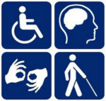 Image includes four blue and white tiles with classic disability symbols.  The top left tile is the outline of a wheelchair user. The top right tile is the outline of a head and brain. The bottom left tile shows to hands with thumb and forefingers touching. The bottom right tile is the outline of a person with a visual aid/walking stick.