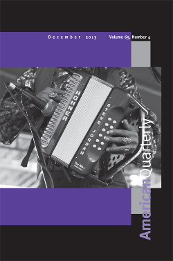 Cover of the Journal American Quarterly. The image shows a close up of a man's hands playing an accordion.