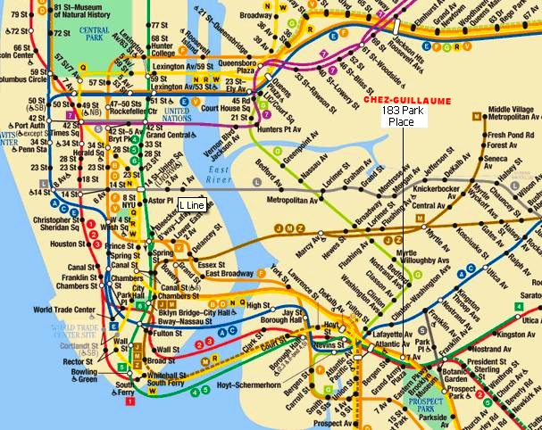 4 lignes de M é tro vers Manhattan:    - Lignes B et Q (7th Av) en face de la maison  - Lignes 2,3 a une minute  à  pied (Grand Army Plaza)