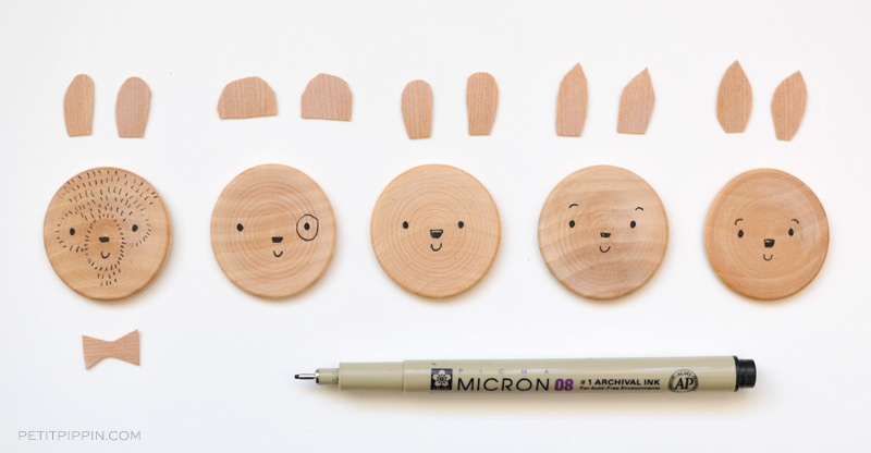 Draw animal faces onto your wooden disks. Your kiddos can get crafty with whatever supplies you have on hand. The more whimsical their creations the better! DIY Wooden Animal Magnets \u2014 Petit Pippin