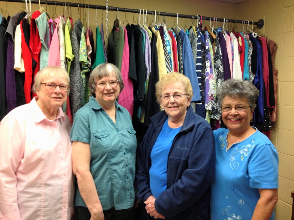 "Volunteers working Blessingdales - the women's ""haberdashery"""