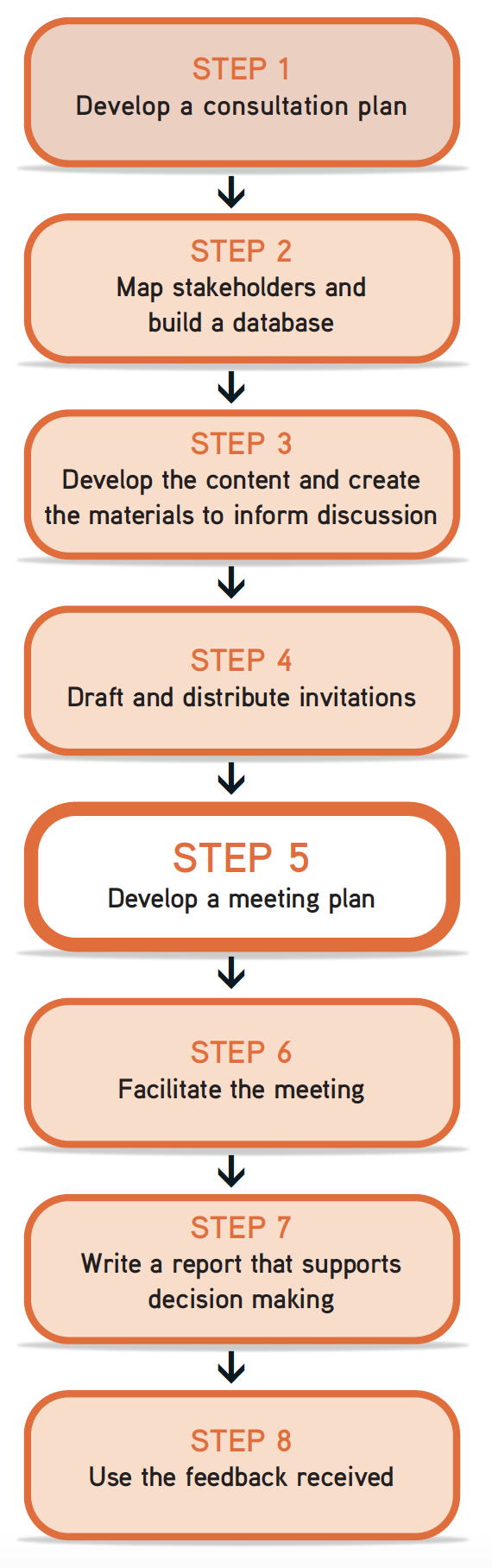 "Picture of steps flow chart, with Step 5 ""develop a meeting plan"" highlighted"