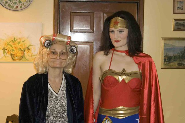 Beth Grant as Cousin Ruthie with daughter Mary Chieffo as Wonder Woman