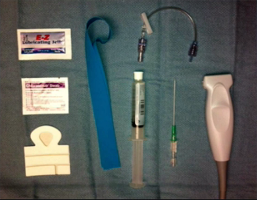 Ultrasound guided peripheral IV set up. From ULA 'Peripheral IV Placement'