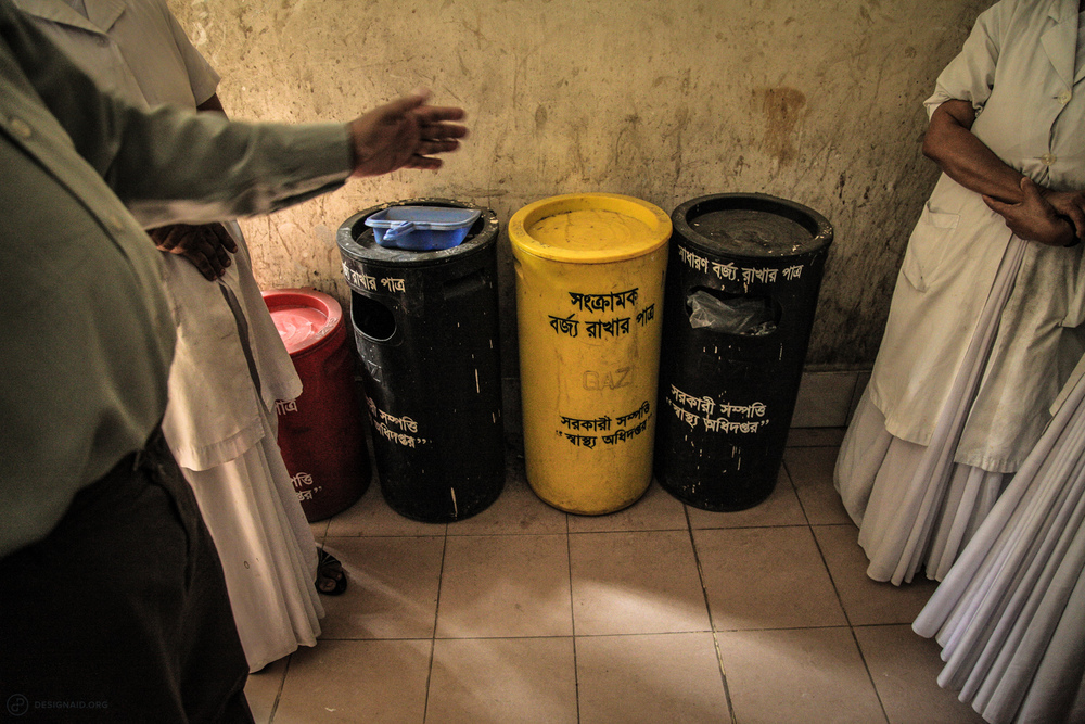 Labelled waste bins still end up with mixed waste, creating an infectious environment for waste treatment