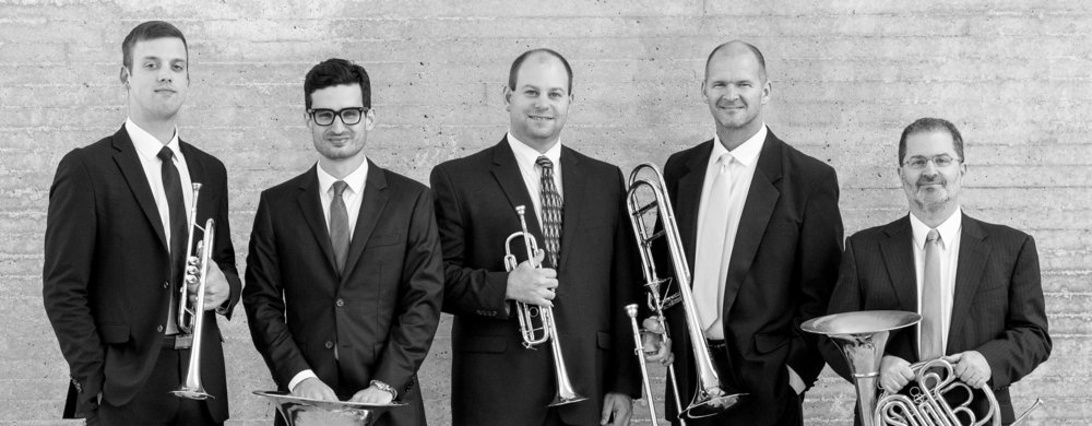 Brass Area Faculty: Mark Hetzler- trombone, Tom Curry- tuba, Alex Noppe- trumpet, Daniel Grabois- horn (photo by Michael R. Anderson)