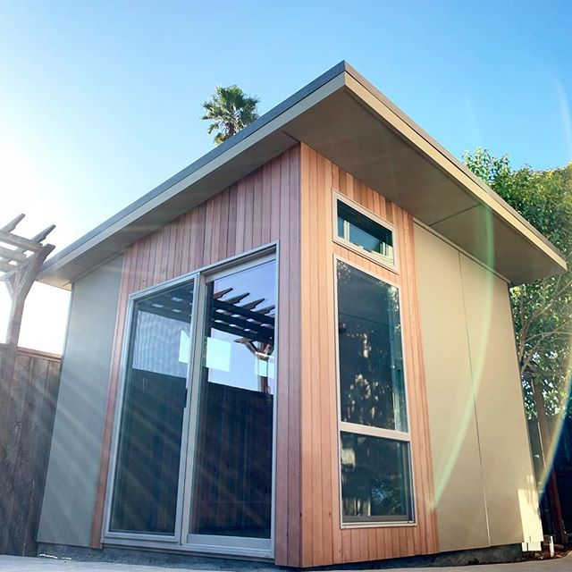 Great weather for this build! #modernshed #moderndesign #homeoffice #tinyhome #modern #studio #californialife