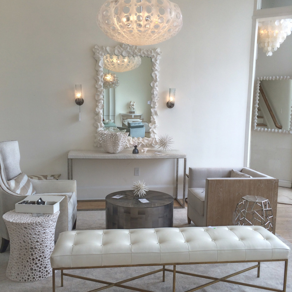 Oly  is one of my very favorites. Their showroom is dreamy perfection with soft colors, lots of gold and silver, and the most elegant but creative transitional furniture. And I could happily live in the cute courtyard outback.