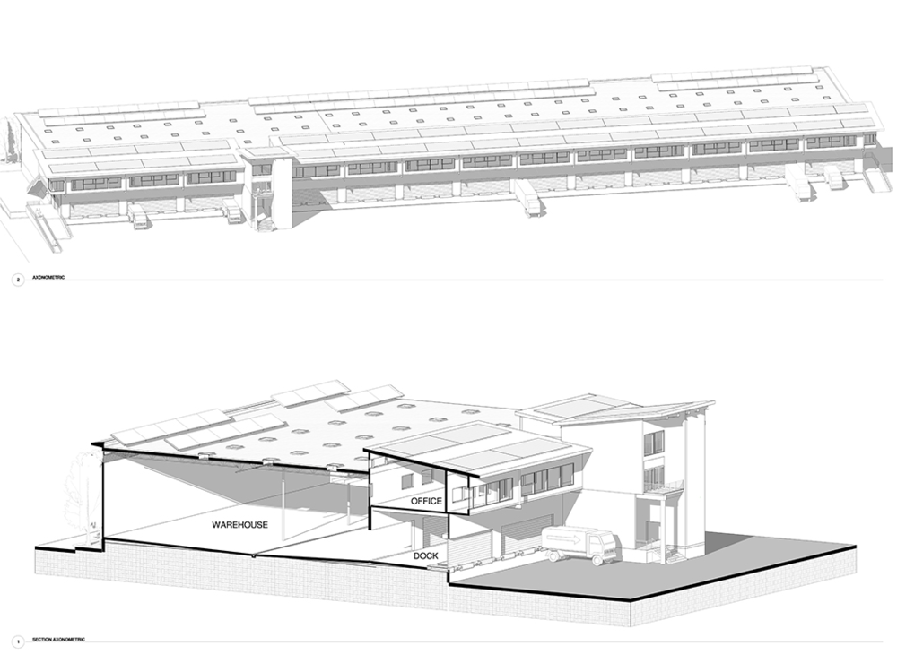 Prototype Warehouse Axonometric and Section