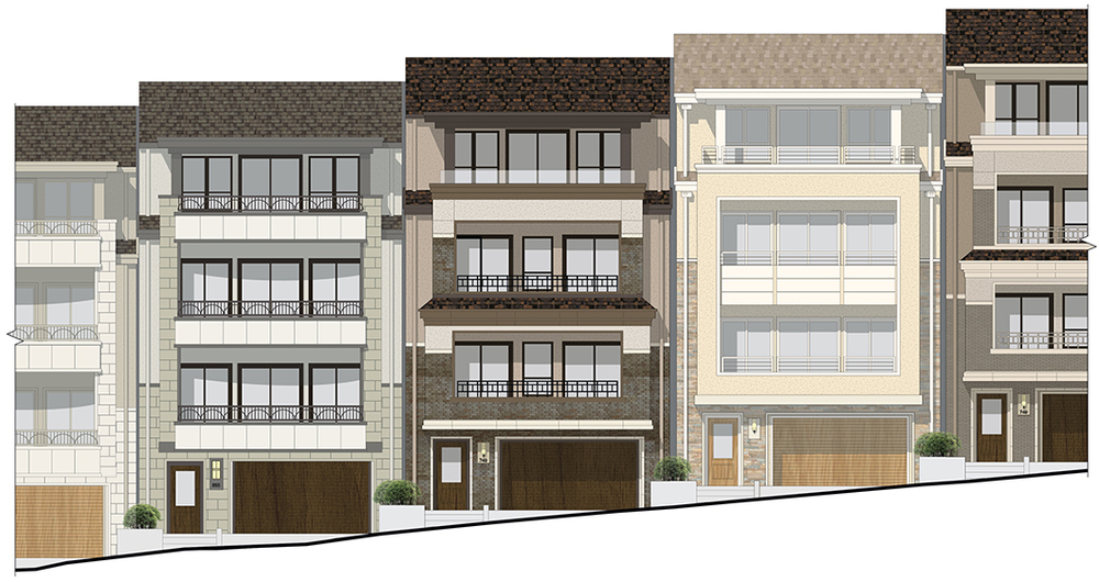 Streetscape at Type A Duplex Units