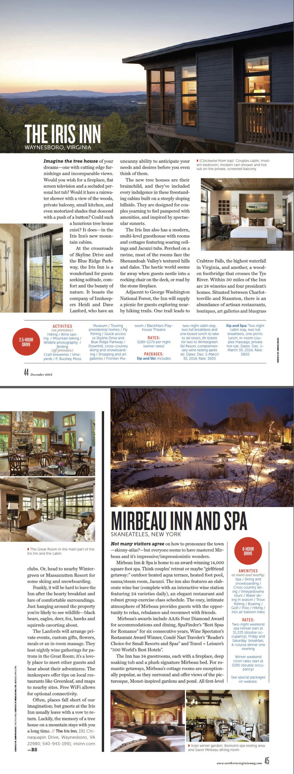 The Iris Inn was featured in Northern Virginia Magazine