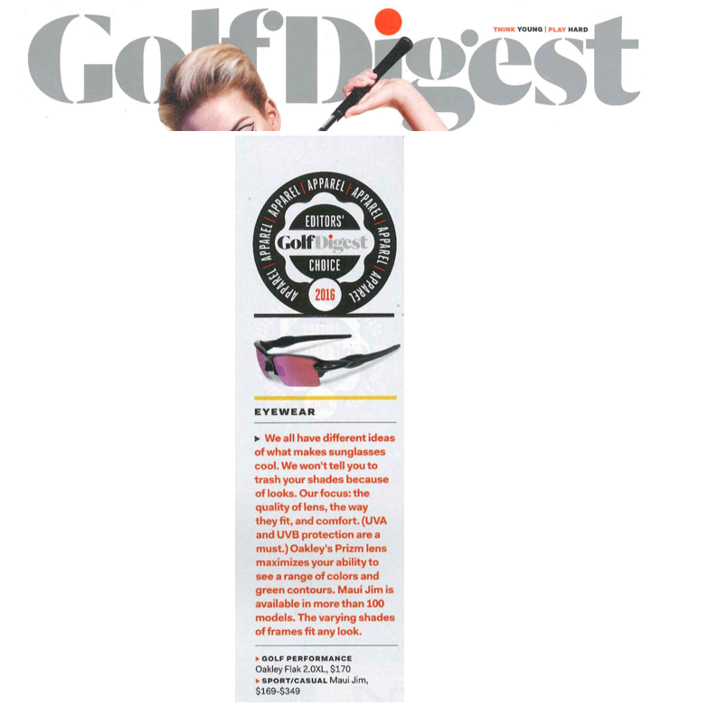 Oakley receives Golf Digest Editor's Choice Award for Best Eyewear 2016