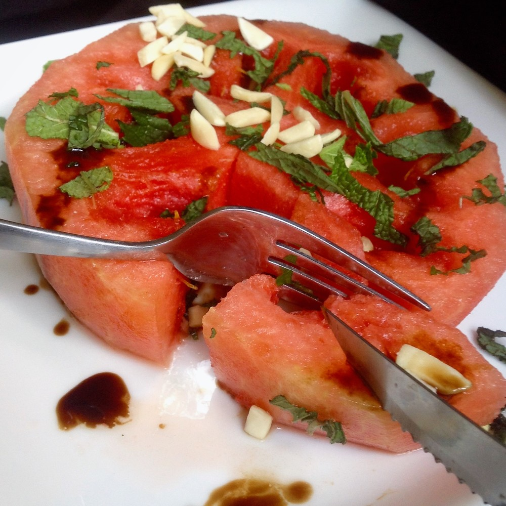 Watermelon with Almonds, Mint, Aged Balsamic