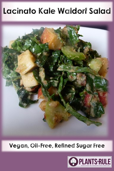 Lacinato Dino Kale Waldorf Salad - Healthy, Gluten-Free, Oil-Free, Grain-Free, Plant-Based Vegan Recipe with Walnuts, Apples, Dijon, and Raisins Pin