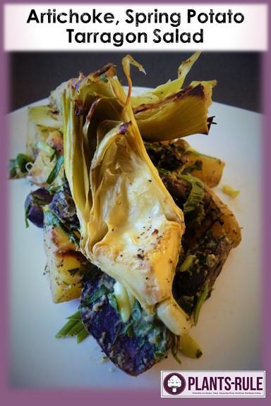Artichoke Tarragon Purple Potato Salad - Healthy, Gluten-Free, Oil-Free, Nut-Free, Plant-Based Vegan