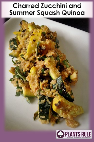 Charred Zucchini and Summer Squash Quinoa - Healthy, Gluten-Free, Oil-Free, Plant-Based, Vegan Grill Salad