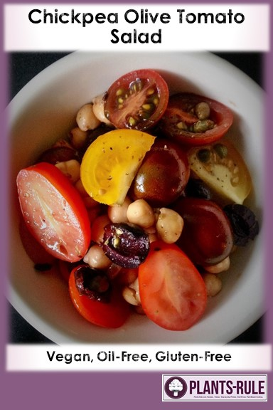 Chickpea Olive Tomato Salad - Healthy, Gluten-Free, Grain-Free, Oil-Free, Plant-Based, Easy, Garbanzo Bean, Simple, Vegan Recipe Pin
