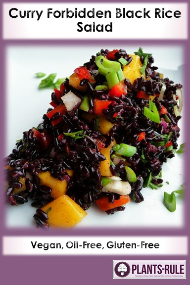 Curry Forbidden Black Rice Salad - Healthy, Gluten-Free, Oil-Free, Spicy, Plant-Based, Asian, Vegan, Spicy Recipe with Mango and Coconut Pin