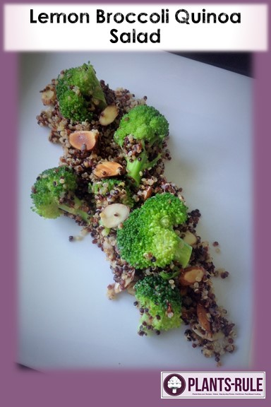 Lemon Broccoli Tri-Color Quinoa - Healthy, Gluten-Free, Oil-Free, Plant-Based, Vegan Salad Recipe with Almonds Pin
