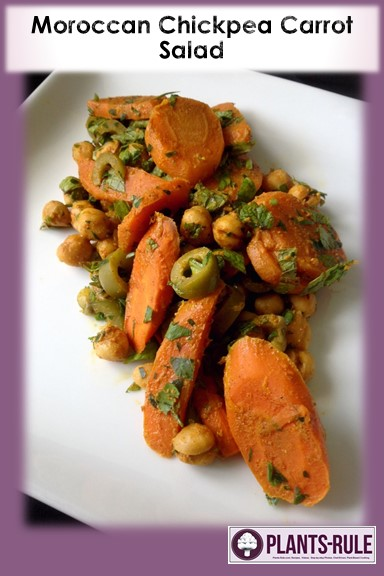 Moroccan Chickpea Carrot Salad - Healthy, Gluten-Free, Grain-Free, Nut-Free, Oil-Free, Plant-Based Vegan