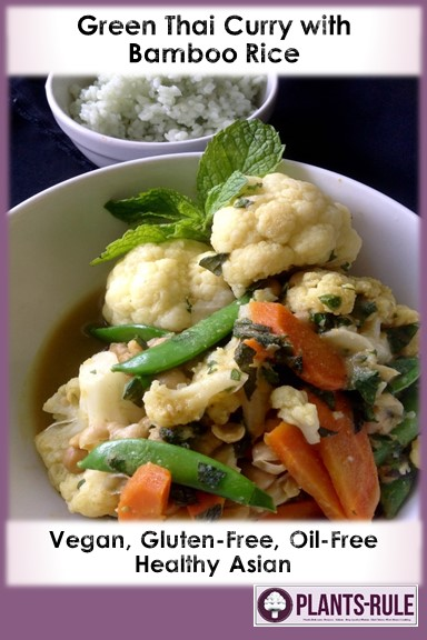 Green Thai Curry with Bamboo Rice  - Healthy, Plant-Based, Gluten-Free, Oil-Free, Vegan, Asian Stir-Fry Dinner Recipe Pin
