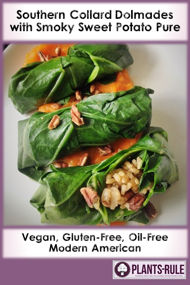 Southern Collard Dolmades with Smoky Sweet Potato Puree - Healthy, Plant-Based, Oil-Free, Gluten-Free Vegan Recipe Pin