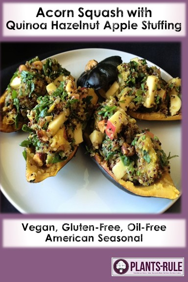 Acorn Squash with Quinoa Hazelnut Apple Stuffing - Healthy, Plant-Based, Gluten-Free, Oil-Free, Vegan, Holiday Recipe Pin