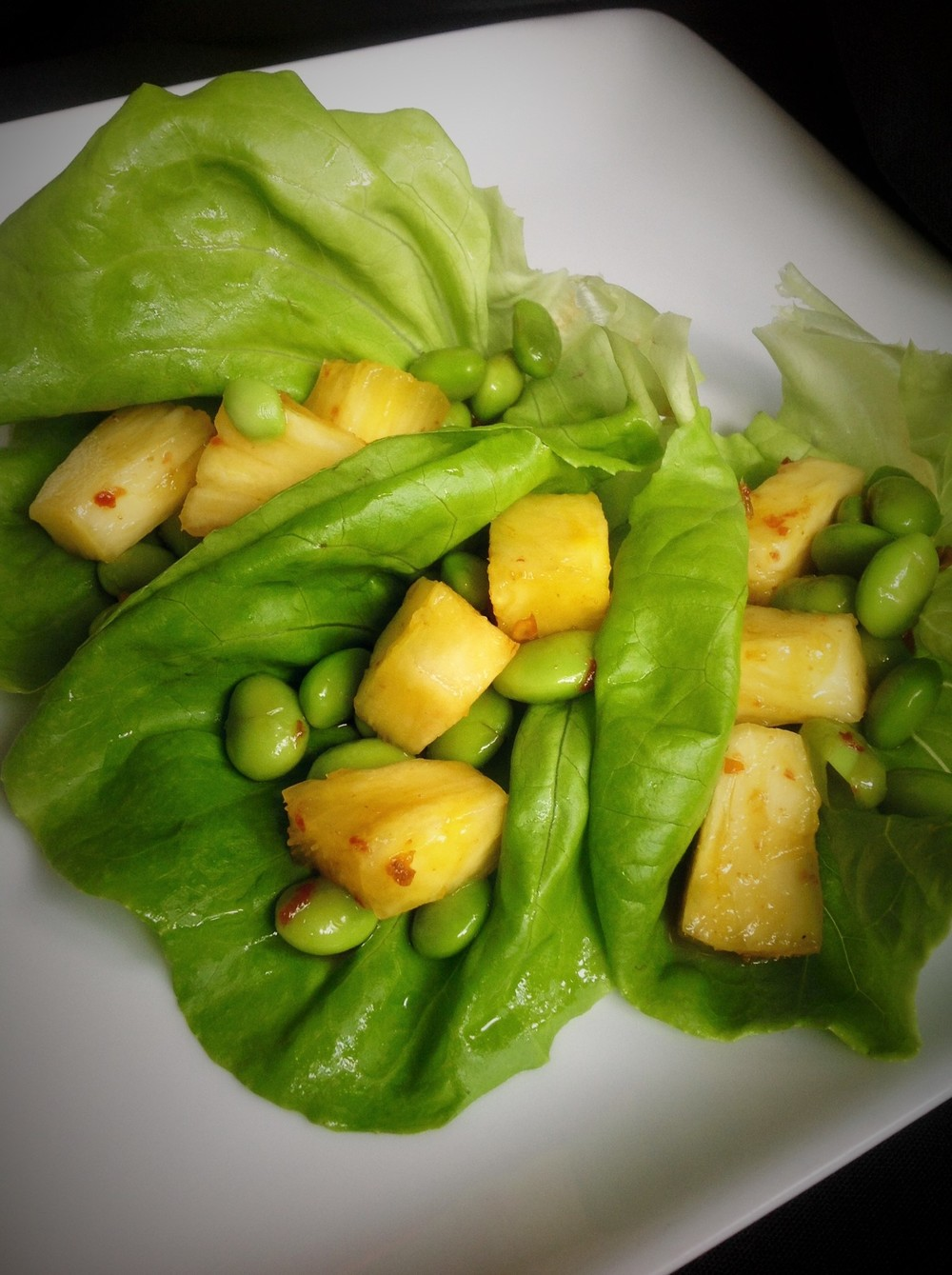 Lettuce Cups with Edamame, Pineapple, Red Chili