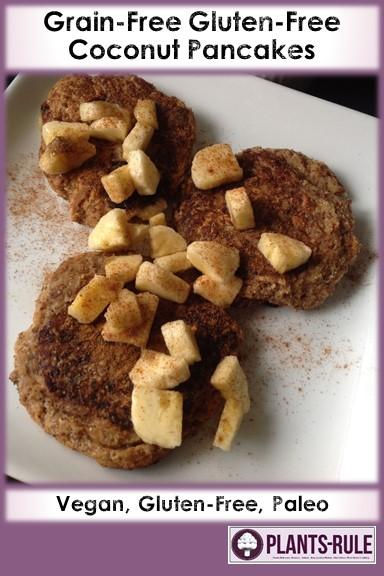 Coconut Pancakes with Raspberry Mango Chia Jam - Healthy, Gluten-Free, Grain-Free, Plan-Based, Vegan Breakfast Brunch Recipe Pin