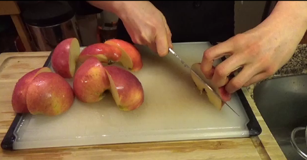 1) Wash apples and cut into quarters.