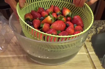4) Remove the berries from the bowl of water, leaving any dirt behind