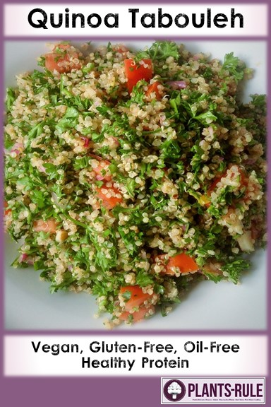 Quinoa Tabbouleh - Healthy, Gluten-Free, Oil-Free, Whole Grain, Vegetarian Protein, Plant-Based, Vegan Salad Recipe with Parsley, Sherry Vinegar Pin