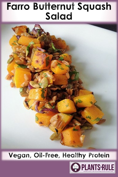 Heirloom Faro Butternut Squash Salad - Healthy, Oil-Free, Whole Grain, Heirloom, Plant-Based, Vegan, Fall Recipe with Pumpkin Seed Pepitas and Golden Raisins Pin