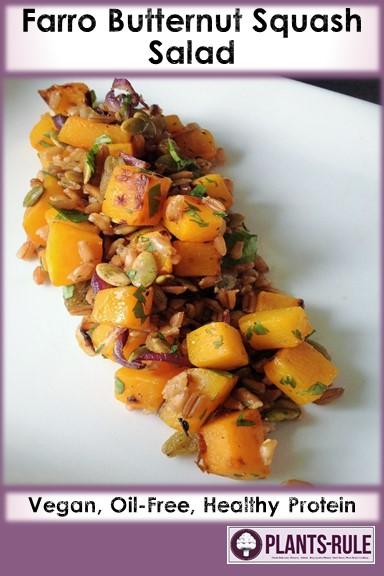 Farro Butternut Squash Salad - Healthy, Oil-Free, Whole Grain, Heirloom, Plant-Based, Vegan