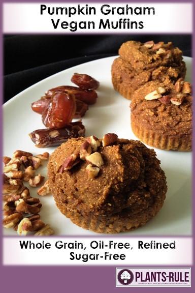 Pumpkin Graham Muffins - Healthy, Whole Grain, No Sugar Added, Dates, Oil-Free, Baked Vegan Kid-Friendly, Breakfast Snack