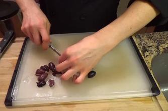Step Four: Halve Olives