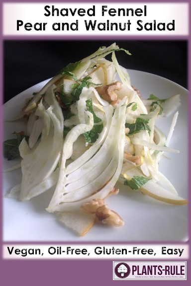 Shaved Fennel Abel Fetel Pear Salad  - Healthy, Gluten-Free, Oil-Free, Grain-Free, Plant-Based, Simple, Easy Vegan Recipe with Walnuts, Mint, and Champagne Vinegar Pin
