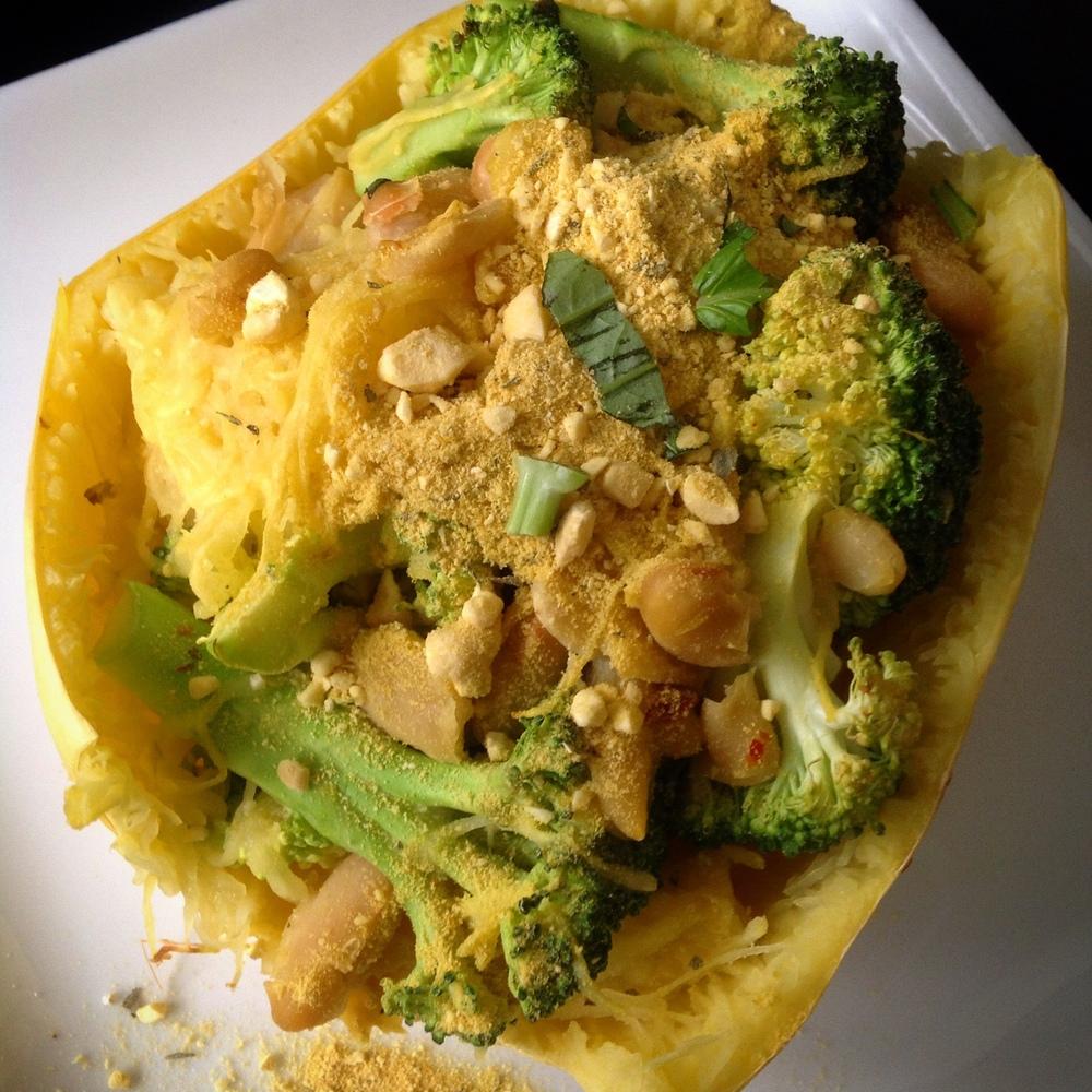 "Spicy Broccoli Garlic Spaghetti Squash Bowl with Cashew ""Parm"""