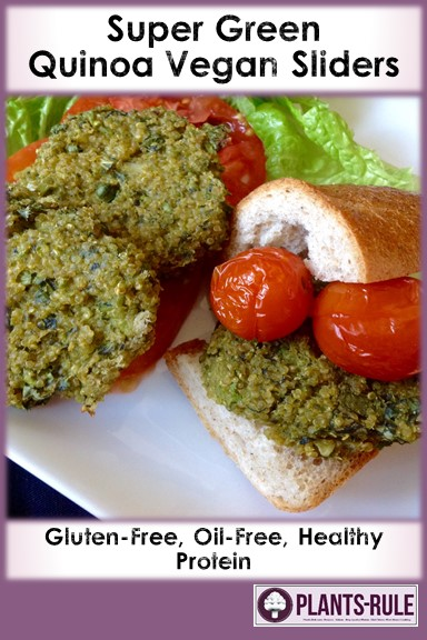 Super Green Quinoa Vegan Sliders - Healthy, Gluten-Free, Oil-Free, Plant-Based Veggie Burger Recipe Pin
