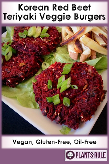 Korean Red Beet Teriyaki Veggie Burgers