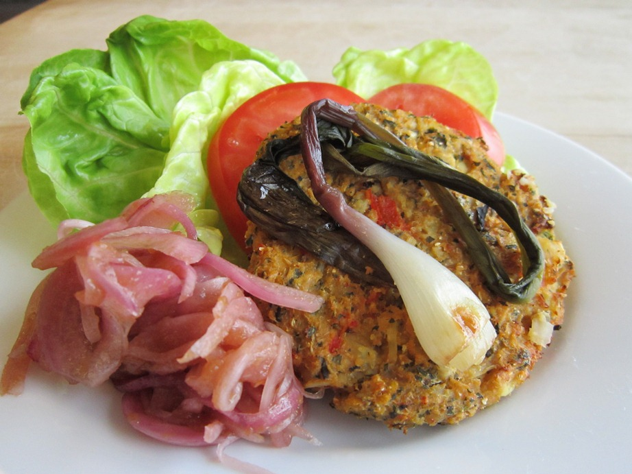 Garden Veggie Burger with Pickled Red Onions and Grilled Ramps