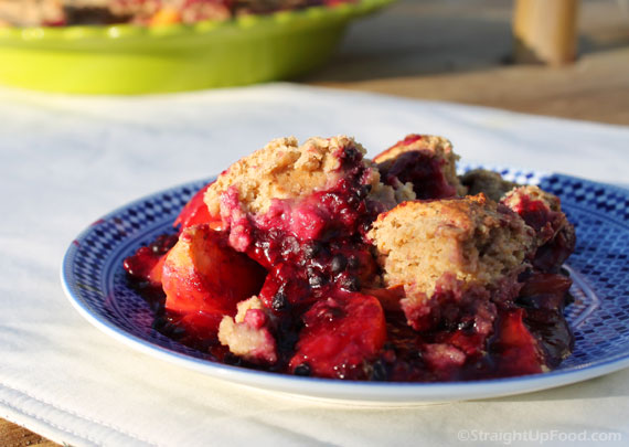 Blackberry Peach Cobbler from Straightup Food