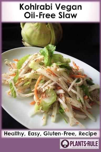 Kohlrabi Slaw - Healthy, Gluten-Free, Grain-Free, Oil-Free, Easy, Plant-Based Vegan Salad Recipe Pin