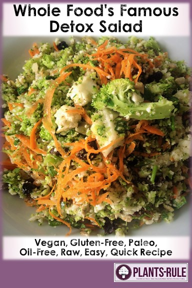 Whole Foods Market Detox Salad - Healthy, Raw, Gluten-Free, Grain-Free, Paleo, Oil-Free, Plant-Based, Vegan Recipe with Broccoli, Cauliflower, Kelp, Currants, Sunflower Seeds, Pumpkin Seed Pepitas, Parsley, and Cider Vinegar Pin