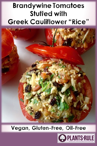 Brandywine Tomatoes Stuffed with Greek Cauliflower Rice