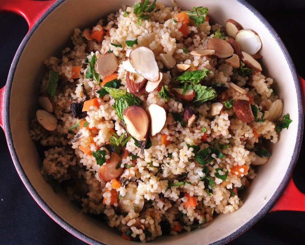 Apricot Almond Whole Wheat Couscous - Healthy, Oil-Free, Plant-Based Vegan