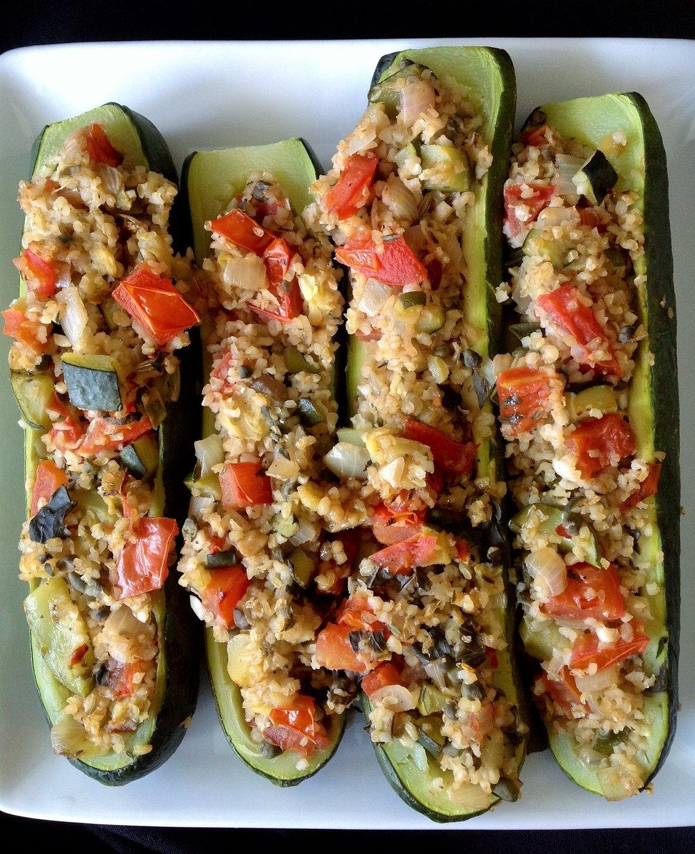 Bulgur Stuffed Zucchini - Healthy, Plant-Based, Oil-Free, Whole Grain, Vegan