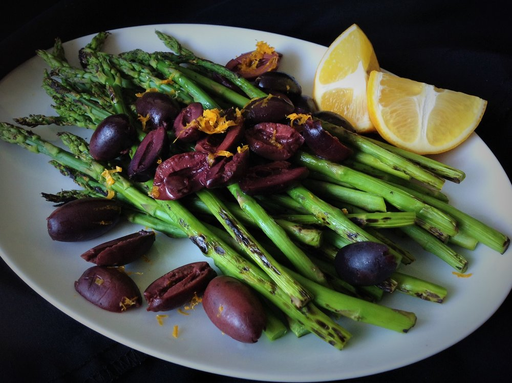Grilled Asparagus Kalamata Olive Meyer Lemon - Healthy, Oil-Free, Plant-Based, Gluten-Free, Grain-Free, Paleo