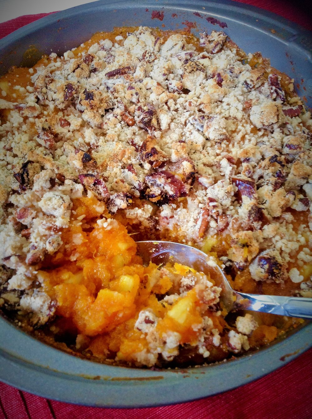 Sweet Potato Pineapple Casserole with Pecan Streussel - Healthy, Gluten-Free, No Sugar Added, Plant-Based, Vegan