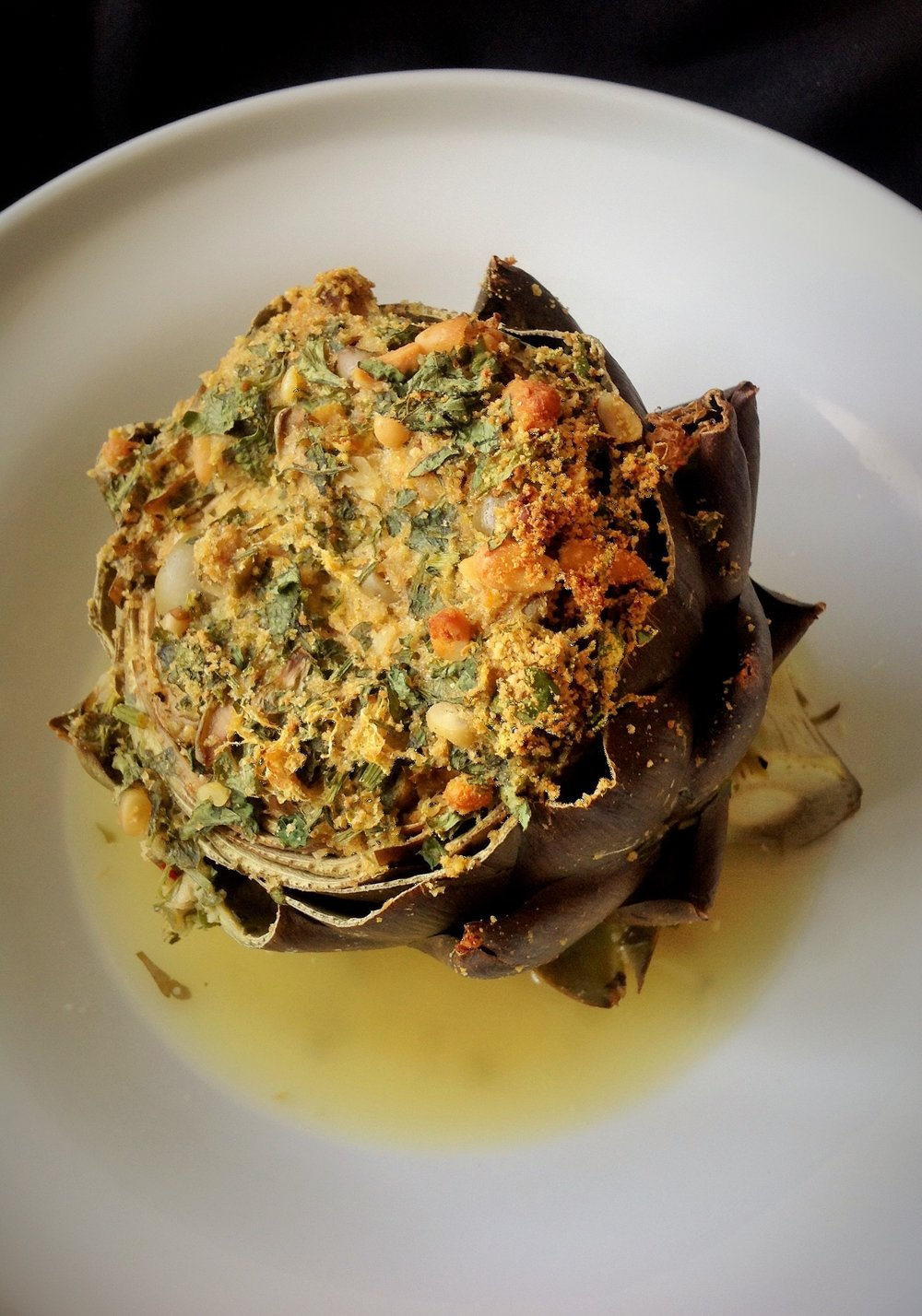 Italian Stuffed Artichokes - Healthy, Whole Grain, Oil-Free, Plant-Based, Dairy-Free, Egg-Free, Vegan